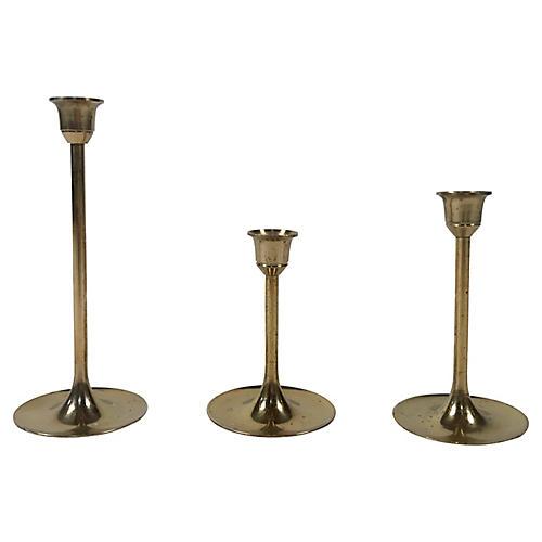 Mid Century Brass Candlesticks, s/3