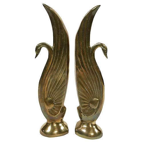 Brass Swan Bookends