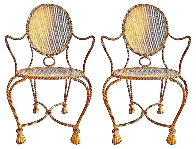 Gilt Iron Rope & Tassel  Chairs, Pair