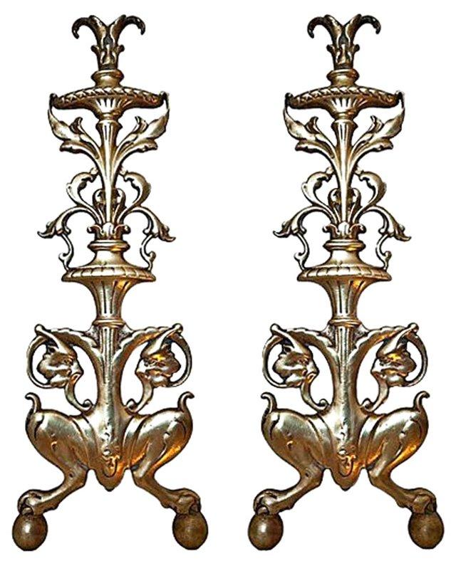 Antique English Brass Andirons