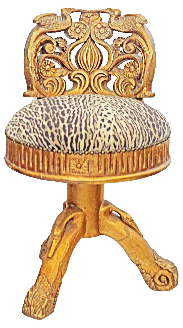 Gilded Stool w/ Leopard Upholstery