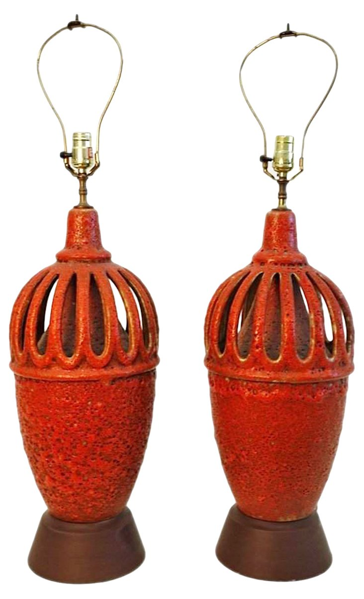 Mid-Century Modern Orange Lamps, Pair
