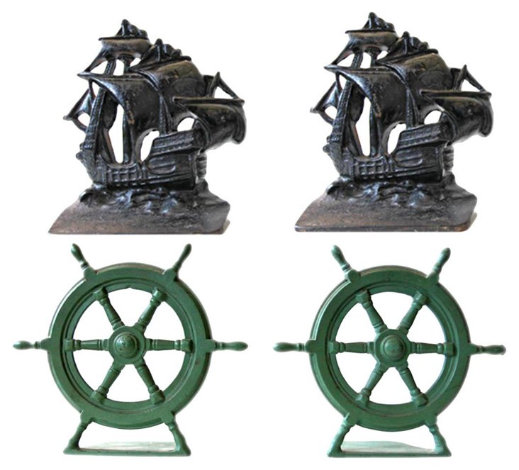 Galleon & Ship's Wheel Bookends (2) sets