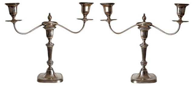 Silverplate Candleholders, Pair