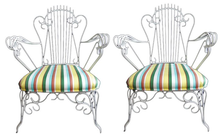Iron Patio  Chairs, Pair