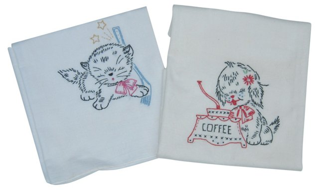 Embroidered Kitten & Puppy Towels, Pair