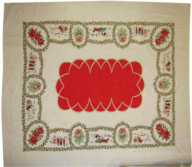 Santa & Carolers Tablecloth