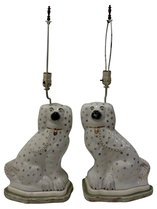 19th-C. Staffordshire Dog Lamps, Pair