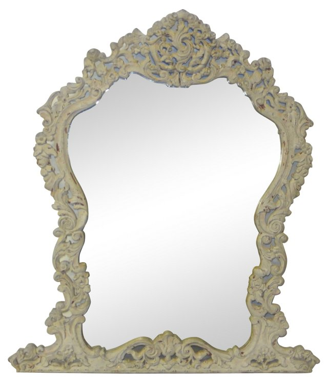 White Carved Wood Rococo-Style Mirror