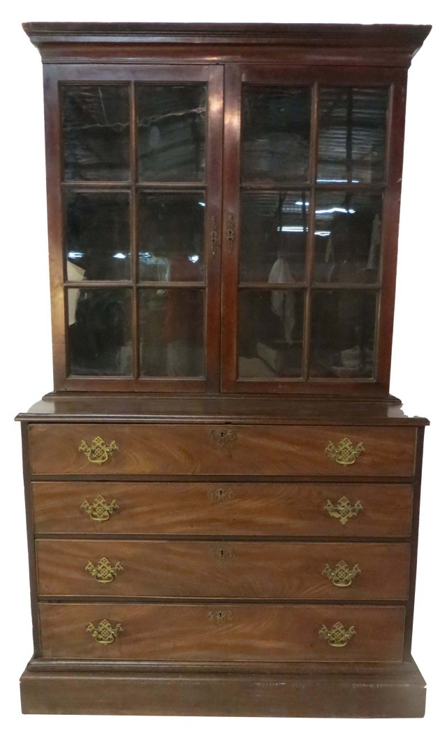 19th-C. Bookcase Over Drawers
