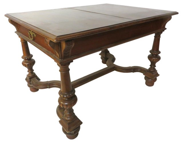 19th-C. Walnut Dining Table