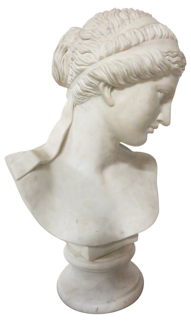 19th-C. Marble Bust on Pedestal