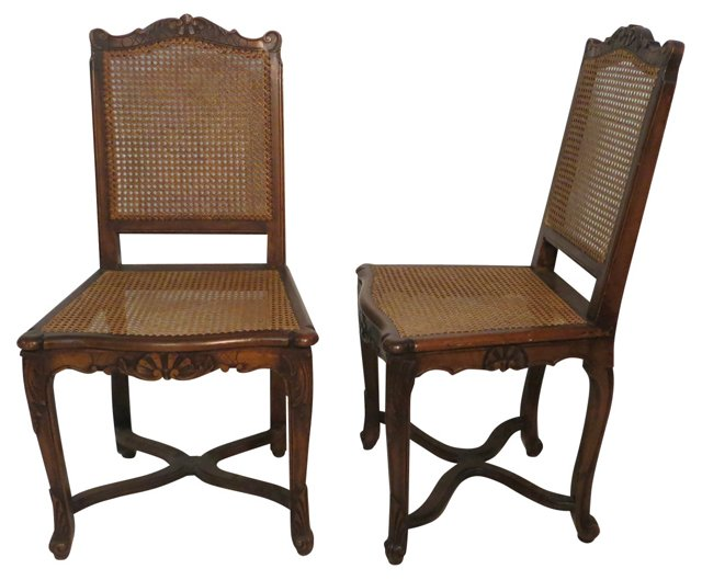 18th-C. Louis XV Side Chairs, Pair