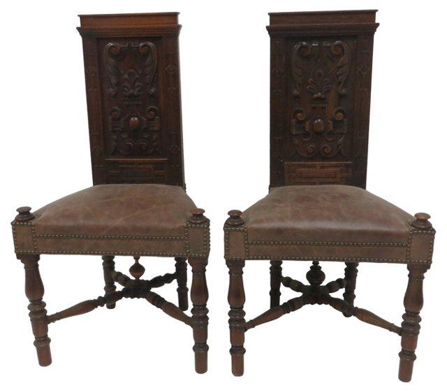 19th-C. Jacobean-Style Chairs, Pair