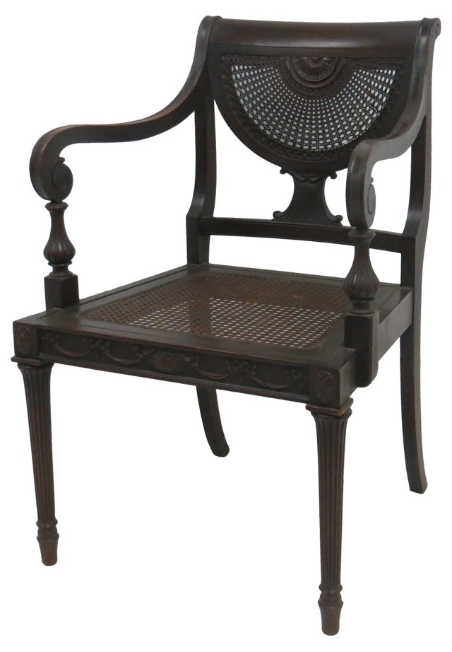 Regency-Style Caned Chair