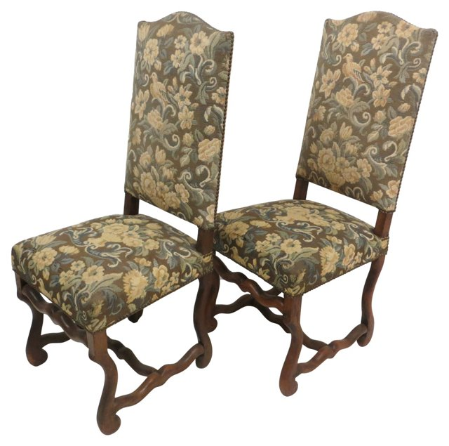 19th-C. Louis XIV-Style Chairs, Pair
