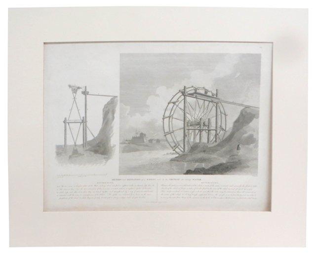 18th-C. Chinese Waterwheel Engraving