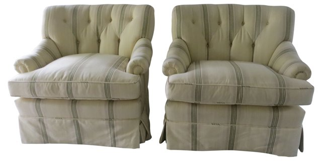 Upholstered Swivel Club Chairs, Pair