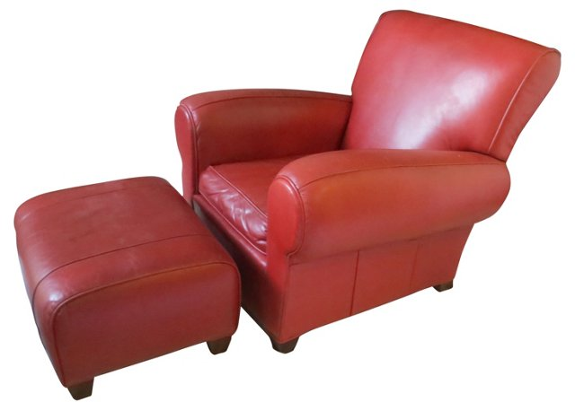 Red  Leather Club Chair & Ottoman