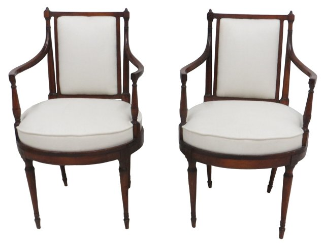 19th-C.  Regency-Style Chairs, Pair