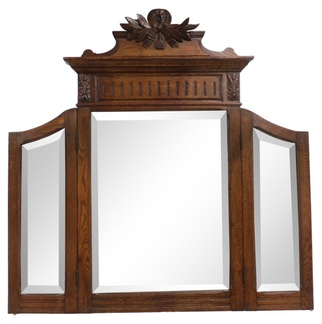 19th-C. Hand-Carved Mirror