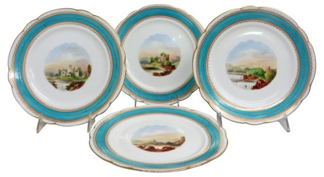 French Hand-Painted Plates, S/4