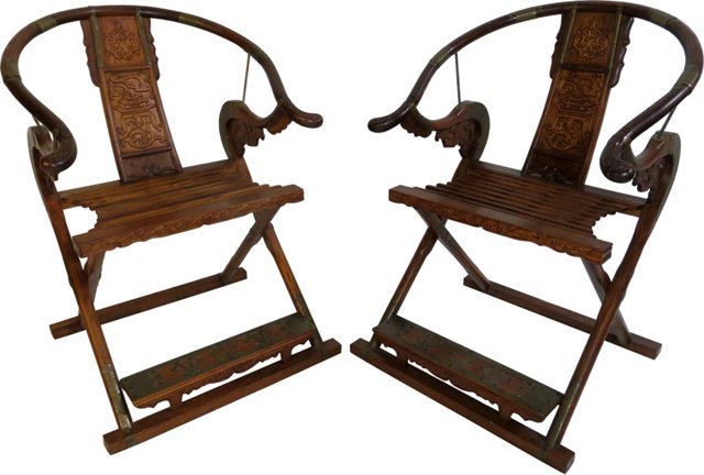 Ming-Style Folding Chairs, Pair