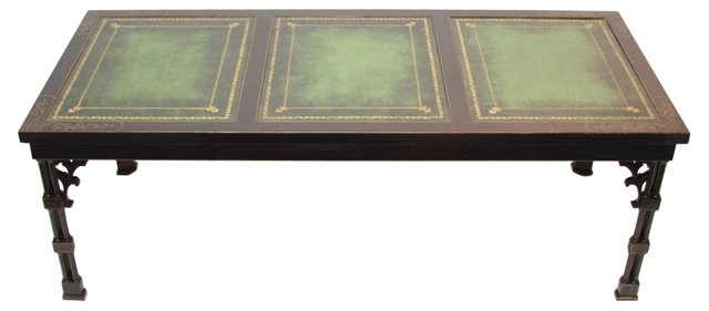 Chinese-Style Leather-Top Coffee Table