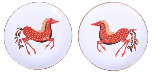 Midcentury Hand-Painted Plates, Pair