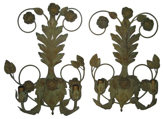 French Tole Sconces, Pair