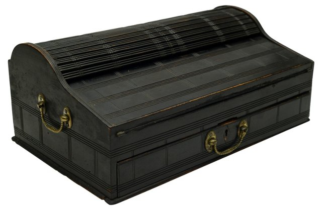 Antique Roll-Top Traveling Writing Chest