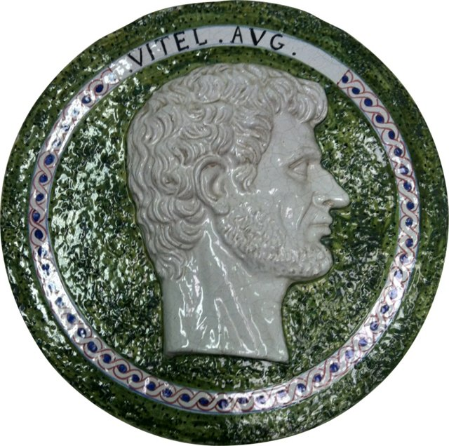 Italian Majolica Portrait Medallion