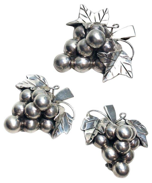 Sterling Grape Bunch Brooch & Earrings