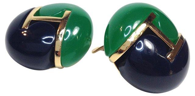 Orena Blue & Green Bakelite Earrings