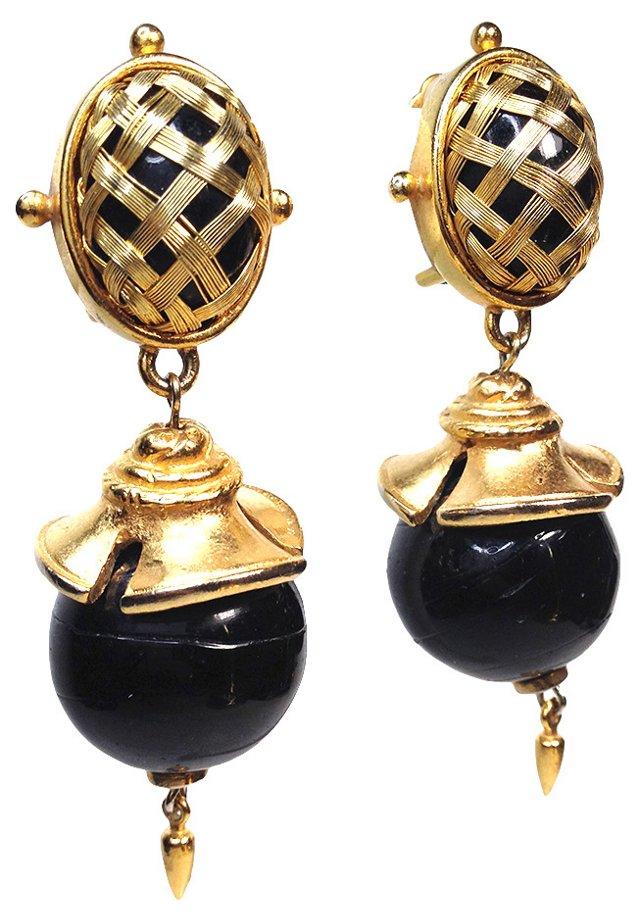 Black & Gold Drop Earrings