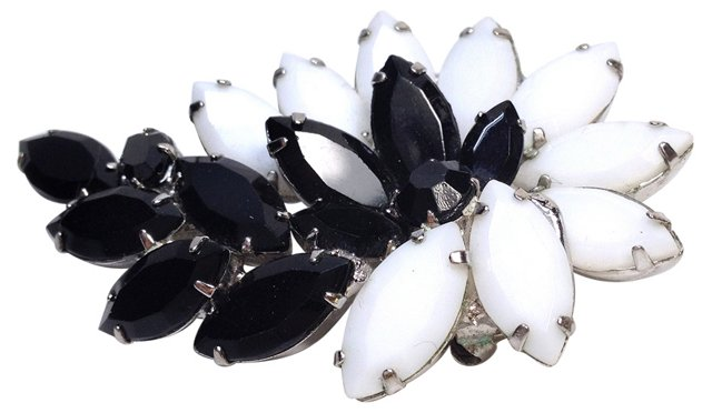 Opaque Black & White Brooch