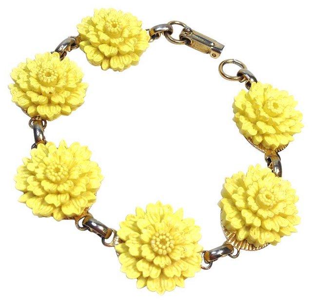 Goldtone & Yellow Flower Bracelet