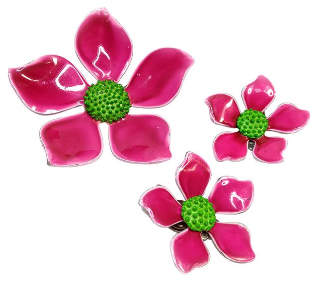 Pink Flower Brooch & Earrings