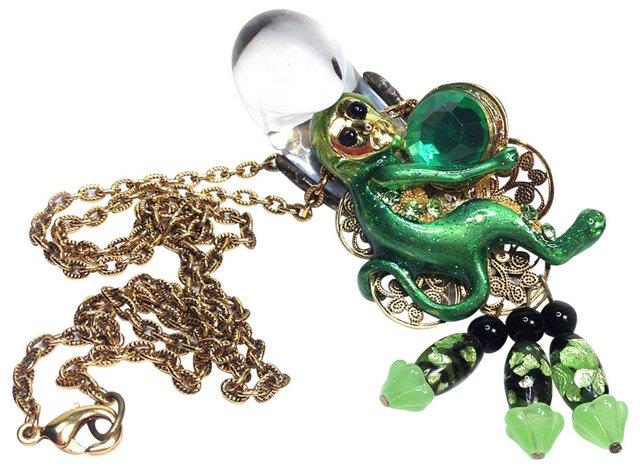 Jeweled Green Monkey Necklace