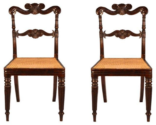 Carved Regency Side Chairs, Pair