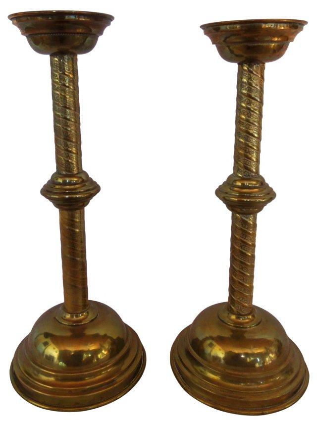 Heavy Brass Candlesticks, Pair