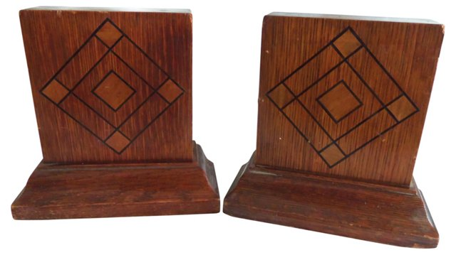 Art Deco Wood Bookends