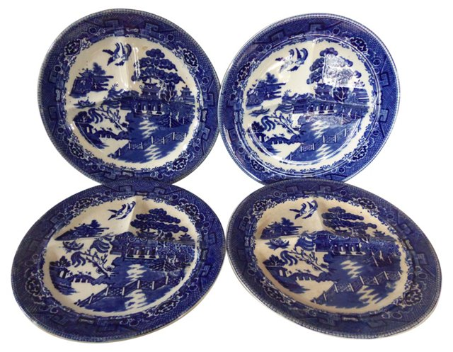 Divided Blue Willow Plates, S/4