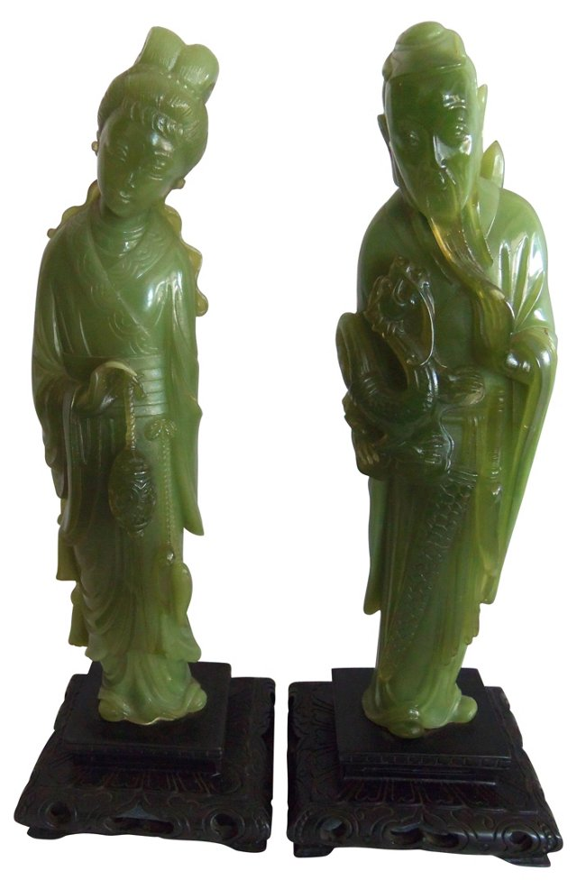 Chinese Faux-Jade Statues, Pair