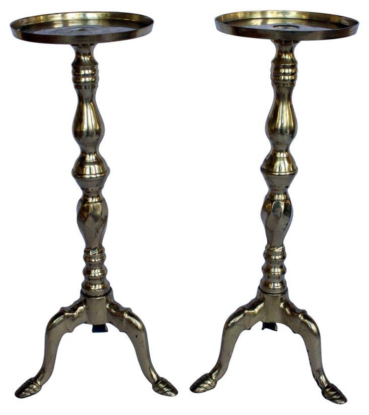 Brass Pillar Candleholders, Pair