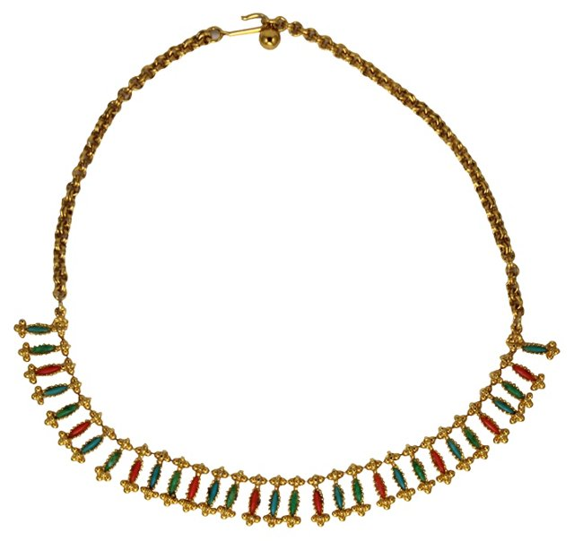 Egyptian Revival Faux-Coral Necklace
