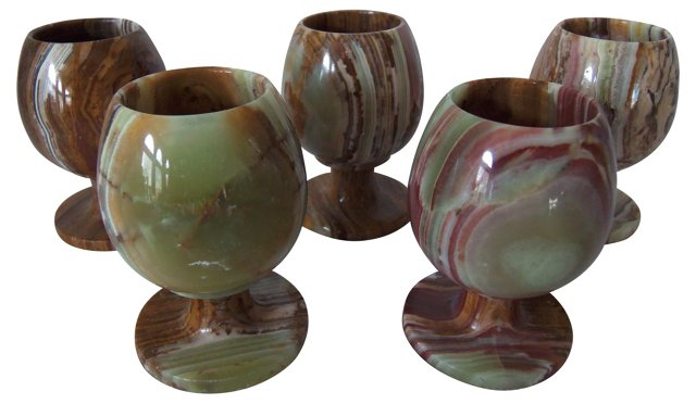 Onyx Shot Glasses, S/5