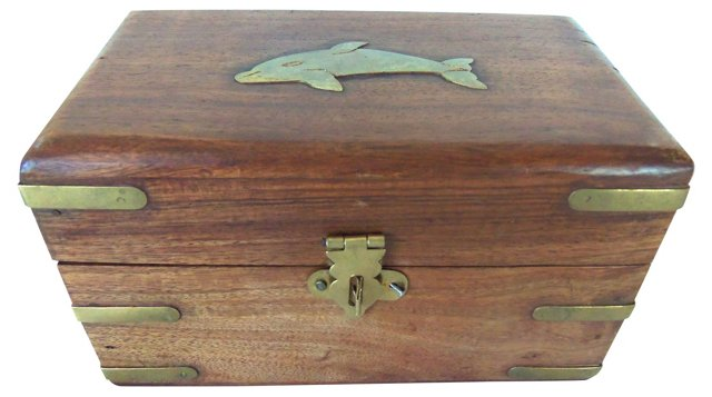 Teak & Brass Fish Box