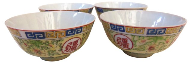 Chinese Soup Bowls, S/4