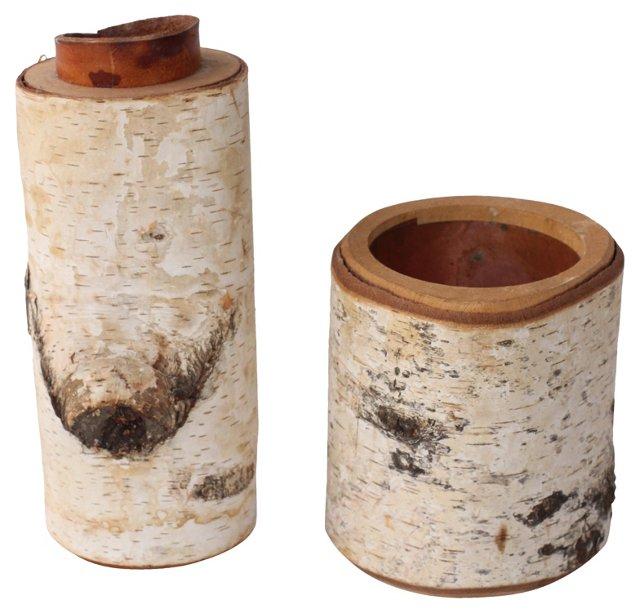 Birchbark Vases, Pair